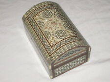 Vintage Wooden Jewelry Box, Chest, Handmade with Mosaic Inlay RARE