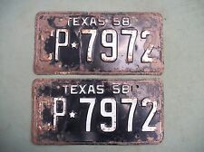 2  USED 1958  TEXAS LICENSE PLATES  FOR RESTORING.  CP-7972  USED  PARTS READ