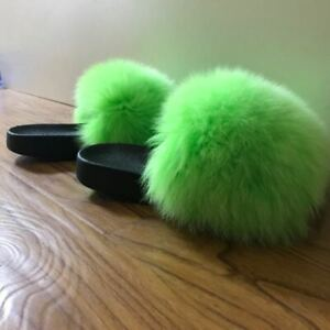 Neon Green  - Max Large XXL Real Fox Fur Slides Slippers Sandals Shoes Sliders