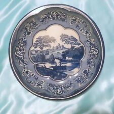 Vintage England Daher Decorated Ware Scenic Blue White Tin Bowl 1971