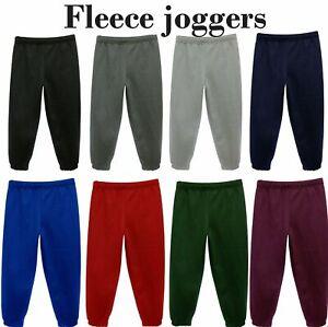 Boys Kids Plain Jogging Bottoms Warm Fleece Joggers School PE Sports Trousers