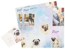 Pug Dog Birthday Christmas All Occasions Wrapping Gift Paper 2 Sheets 2 Tags