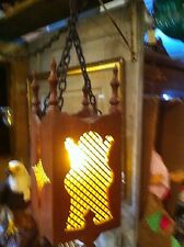 Vtg Mid Century Midieval Gothic Chain Wood Amber Glass Swag Lamp Hanging Light