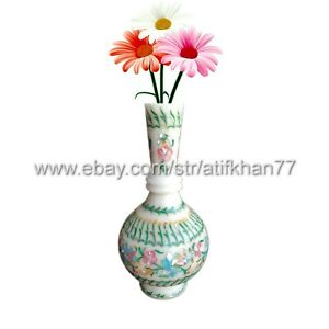 Vintage Bud Vase for Living Room Marble Inlay Flower Table Centerpiece Gift