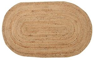 DHAKA Braided Oval Rug Hand Woven with Natural Indian Jute Small Medium Large