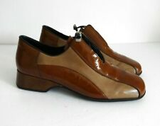 RIEKER Size UK 7 Ladies Brown / Tan Patent Leather Elastic Toggle Fasten Shoes