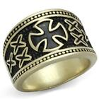 Men's Antique Copper Plated Knights Templar Stainless Steel Cross Ring TK2469*