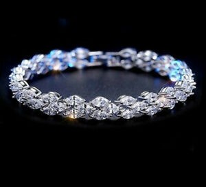 5 CT Marquise Sim Diamond Men's Tennis Bracelet 14K White Gold Over Silver 925
