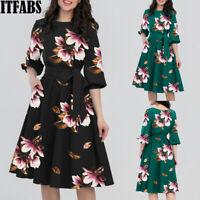 Autumn Women Retro Tunic 3/4 Long Sleeved Floral Bodycon Dresses Vintage Dress