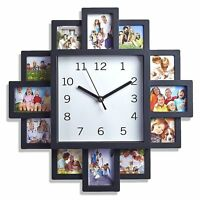 12 MULTI FAMILY FRIEND PHOTO HOLDER PICTURE FRAME BLACK TIME WALL CLOCK NEW