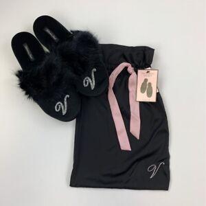 Victoria's Secret Womens Slipper Mules Black Faux Fur Slip On M 7-8 New