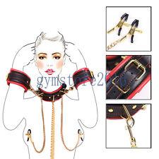 Slave Neck Collar to Handcuffs Restraint Wrist Cuffs Gold Chain Leash Clamps New