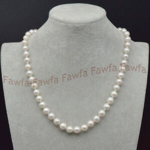 Long 18-60 Inch 9-10mm Natural White Freshwater Real Baroque Pearl Necklace