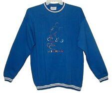 Sz XL Vin MICKEY MOUSE Long Sleeve Sweat Shirt DISNEY Embroidered Blue GENUS USA