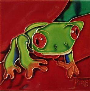 """Frog Art Tile 4""""x4"""" Decorative Ceramic New Backsplash SD-096 Red Leaf Green"""