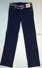 Gymboree Brightest in Class Navy Blue Flower Belted Jeans Pants Girls 8 NEW NWT