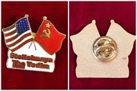 Stolichnaya The Vodka US Russia Flag Hard Enamel Cloisonne Hat Tie Lapel Pin Vtg