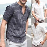 Men's Summer V Neck Basic Tee Casual Linen Short Sleeve Tops T-shirt Blouse