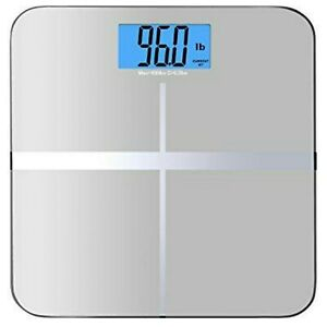 New Digital Body Weight Bathroom Scale Beautifully Designed Glass Silver 400lbs