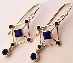 Genuine 9K,14K or 18K Yellow,Rose or White Gold NATURAL Sapphire Drop Earrings