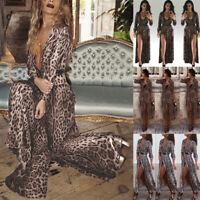 Womens Ladies Long Sleeve V-Neck Leopard Printed Split Hem Party Wrap Maxi Dress