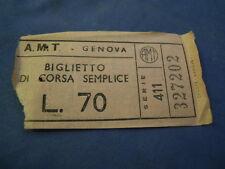 """BIGLIETTO TRAM """" A.M.T. GENOVA """" LIRE 70 4-230/9"""