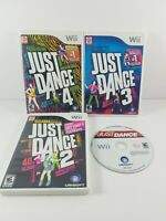 Lot of 4 Nintendo Wii JUST DANCE 1 2 3 4 Tested (2 3 4 Complete)(1 Disc Only)