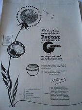 PUBLICITE 1924  La poudre de Beauté Gibbs tel le pollen