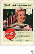 1940 PAPER AD ARTICLE Coke Coca-Cola Soda Pop Waitress 5 Cents Trade-Mark