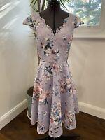 Review Romance Purple Floral Lace Dress Size 6 EUC Races Wedding Party