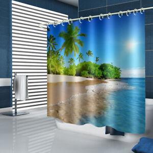 Beach Shower Curtain Bathroom Rug Set Thick Bath Mat Non-Slip Toilet Lid Cover