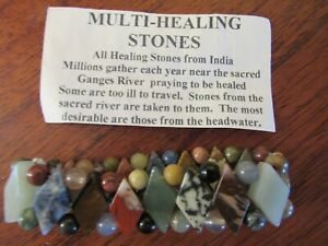 Multi Healing Stones Bracelet - from the Sacred Ganges River in India