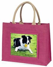 'Happy Easter' Border Collie Large Pink Shopping Bag Christmas Pr, AD-CO69DA1BLP