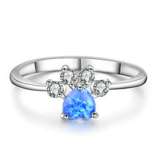 Heart Cut Blue Fire Opal Ring White Gold Cute Dog Paw Footprint CZ Wedding Band