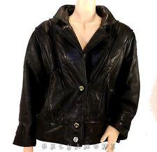 Veste en Cuir Agneau Vintage T 42 / 44 XL noir doublé 2 poches TBE coat jacket
