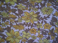 Vintage Retro ORANGE, BROWN & YELLOW FLORAL Fabric Remnant (75cm x 50cm)