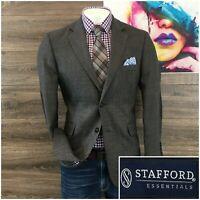 Stafford Mens Classic Fit Wool Sport Coat Blazer Jacket 40R 2 Button Elbow Pads