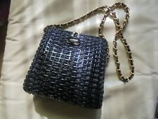Vegan friendly, Italian made purse, black with gold chain strap