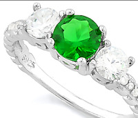 DIAMOND & EMERALD TRILOGY RING SILVER WHITE GOLD LOOK GENUINE  F- IF  2.18 CWT