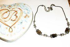 Brighton NIGHT MIST Smoky Quartz Brown Silver Necklace New NWOT + Heart Tin