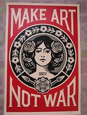 "shepard fairey ""Obey"" lithographie signée make art not war +  stickers (OBEY)"