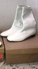 White Go Go Boots Vintage Unbranded Nos Nib 1960s Mod Black Heels Side Zip