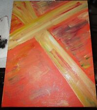 """Acrylic Religious Painting-""""BLOOD""""-9 x 12-Cross on Canvas-Free Shipping"""