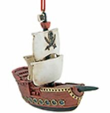 Resin Pirate Flag And Sailing Ship Hanging Ornament