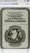 1989 china panda new york ngc 69 silver  medal coin