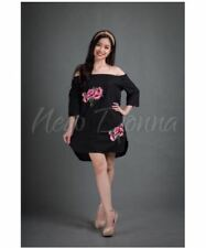 OFF SHOULDER EMBROIDERED DRESS (BLACK)