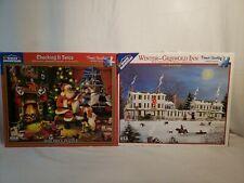 Lot 2 White Mountain jigsaw  santa christmas &  winter Griswold Inn excellent