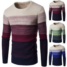 UK Mens' Warm Long Sleeve Thickening Jumpers Crew-Neck Slim Fit Pullover Tops