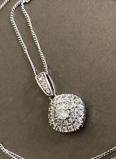 Ernest Jones 9ct White Gold Diamond Necklace 0.50ct Square Halo Cluster Pendant