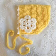 * Newborn Baby Pixie Bonnet/Hat/Beanie * Yellow/White * (Warm) *Aust HandKnitted